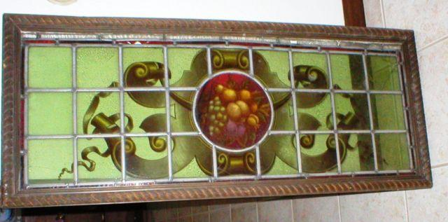 Antique Stained Glass Window - Wood Frame