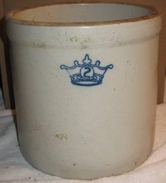 Antique Stoneware Crock 2 Blue Crown Medium Size For Sale