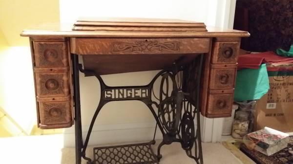 Antique Tiger Oak Singer Sewing machine table - $250
