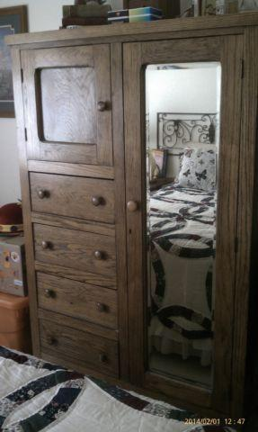 Antique Tiger Oak Wardrobe Armoire From New Orleans Rare