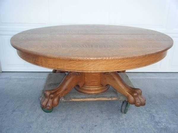 Antique Tiger Striped Oak Claw Foot Coffee Table For