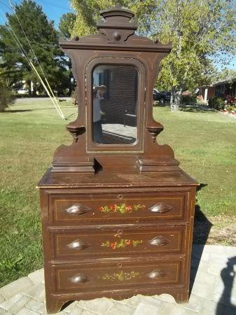 Antique Toll Painted Dresser W Mirror Chickamauga Ga