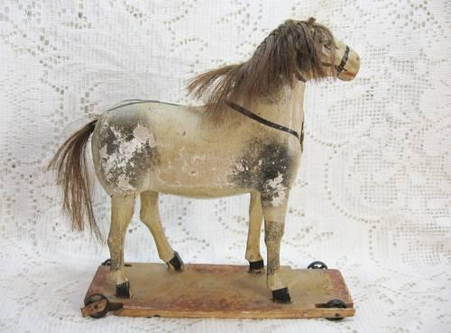 Antique Toy Stick Legged Horse on Wheels