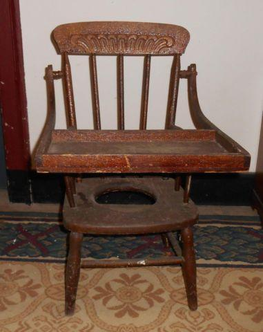 Antique Victorian Childs Wood Potty Chair