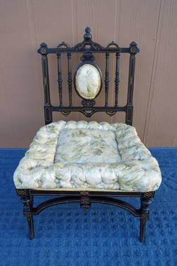 Antique victorian era slipper chair with ebonized finish for sale in
