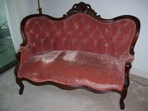 Antique Victorian Loveseat Settee w/ Carved Grape