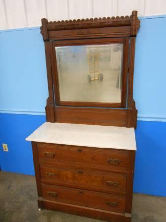 Antique Victorian Marble Top Dresser Vintage For Sale In