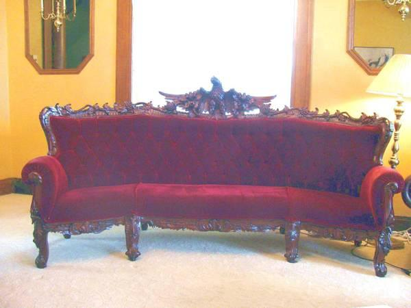 Antique Victorian Sofa 2 Chairs Hand Carved Eagles For Sale In