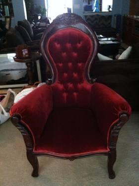Antique Victorian Style Pair Of Red Velvet Side Chairs For