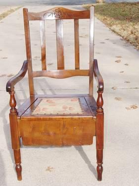 ANTIQUE VICTORIAN WOOD COMMODE TOILET CHAIR TAPESTRY