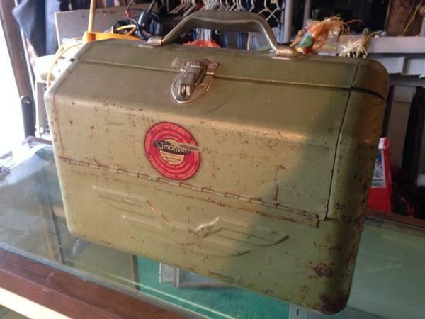 Antique vintage fishing tackle box with lures for sale in for Vintage fishing lures for sale
