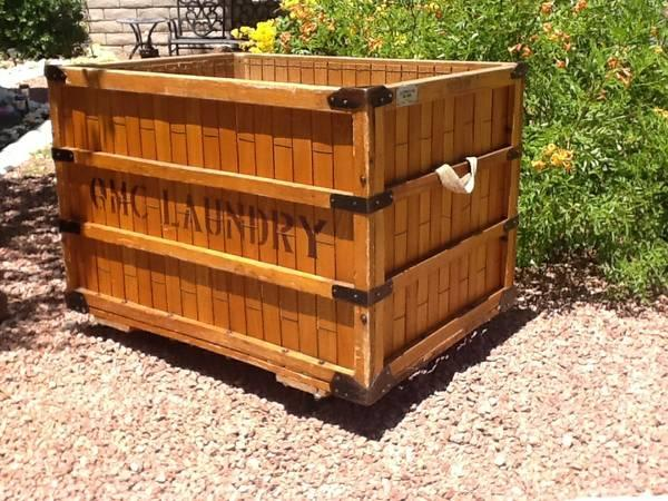 Antique Vintage INDUSTRIAL FACTORY LAUNDRY CART BIN QMC ...