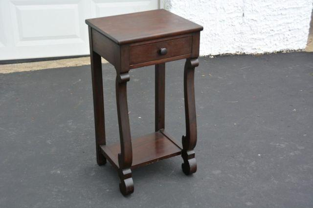 Antique vintage walnut wood empire style night stand side table for