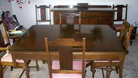Antique Walnut Dining Table Chairs Buffet Gregory Mfg For Sale In Sparks Nev
