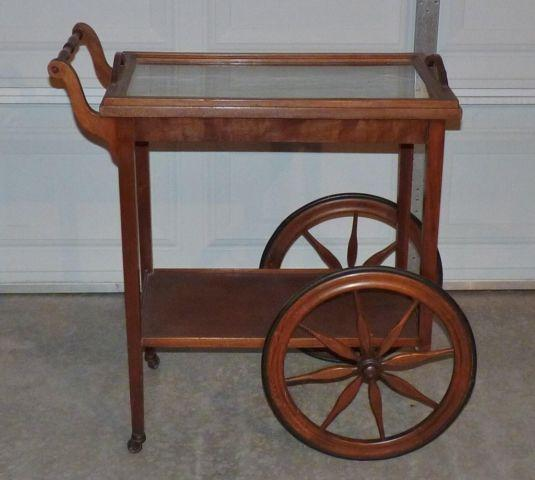 Antique Walnut Tea Cart W Glass Removable Tray