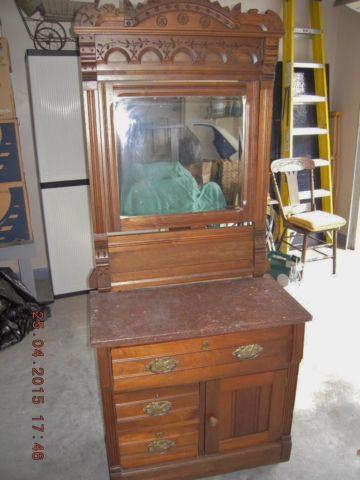 Antique Washstand With Mirror And Marble Top For Sale In
