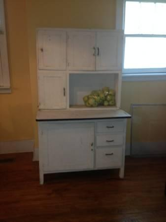 Antique White Hoosier Cabinet - $200