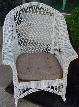 Antique White Wicker Rocking Chair  Country Cottage