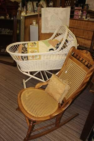 Antique Wicker Baby Bassinet - $67