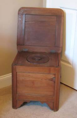 Antique Wood Commode / Toilet With Double Hinged Seat U0026