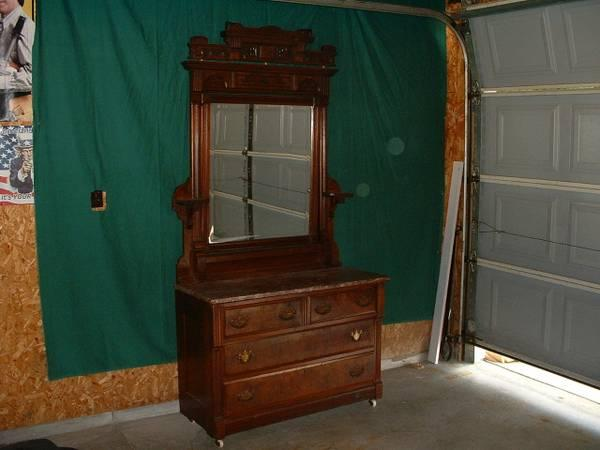 Antique Wood Dresser Marble Top Amp Mirror Late 1800 S Early