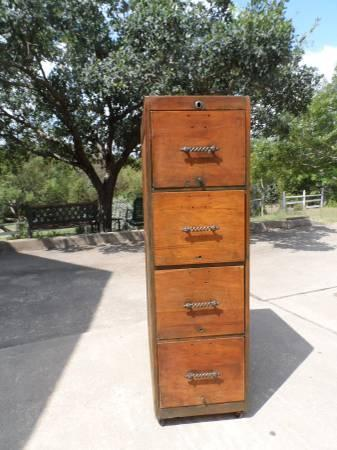 Antique wood file cabinet - $245