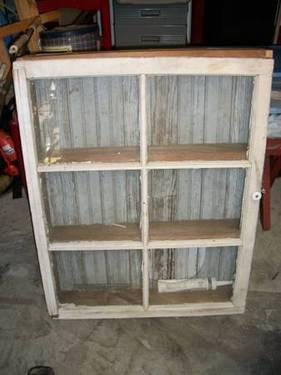 Antique Wood House Window Made Into Shelves Medicine
