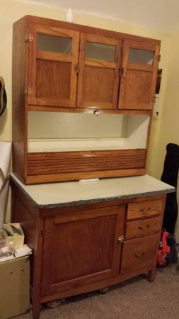 Antique Wood Kitchen Hoosier Cabinet   $250