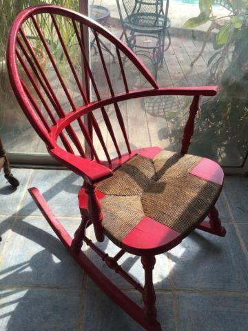 Antique Wood Rocking Chair With Handwoven Cane Seat