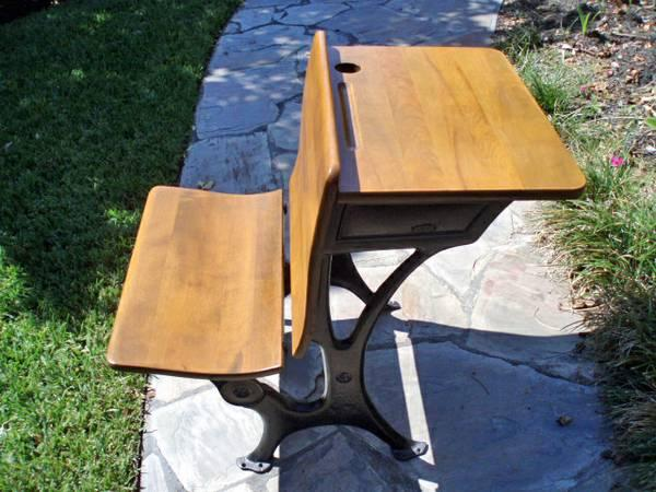 Antique Wood School Desk - $300