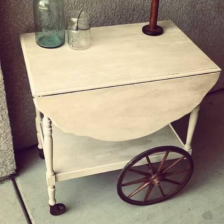 Antique Wood Tea Cart Shabby Chic 120