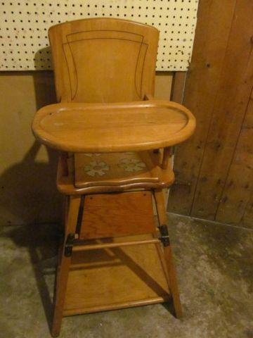 Antique Wooden Conversion High Chair to Play Table & Potty