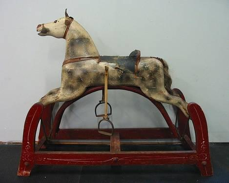 Antique Wooden Rocking Horse Whitney Reed Glider Great