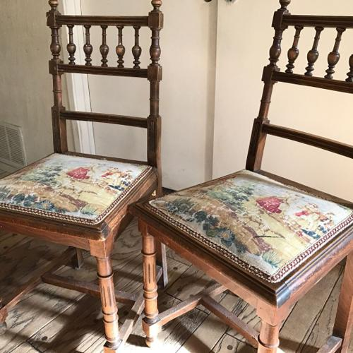 Antique, wooden small side chairs .