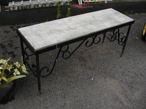 Awesome Antique Wrought Iron Granite Garden Bench For Sale In Pdpeps Interior Chair Design Pdpepsorg