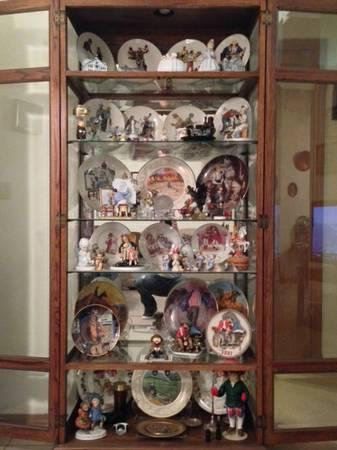 Antiques cabinet and porcelain ware - $1
