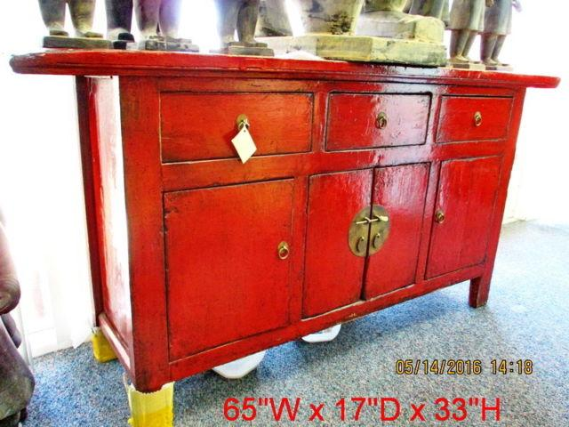Antiques Chinese Red Lacquer Finished Cabinet Sale From