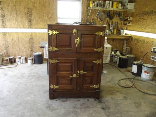 Apartment Size Antique Golden Oak Ice Box.