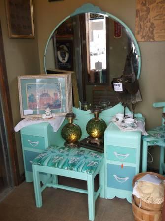 Aqua Green Blue Shabby Chic Vanity W Mirror Bench