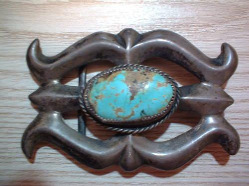 ARIZONA NAVAJO SILVER & TURQUOISE BELT BUCKLE, EARLY
