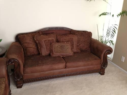 Ashley brown traditional sofa set w rolled arms and for Traditional couches for sale