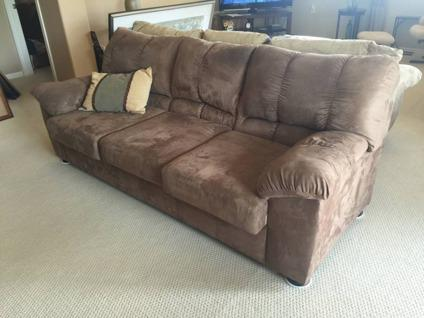 Ashley Chocolate Brown Micro Suede Couch