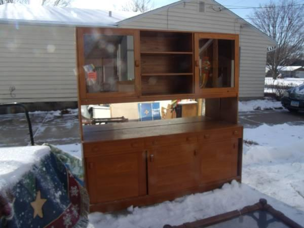 ASHLEY FURN. BUFFET  HUTCH, SOLID MAPLE HARDWOOD WITH GLASS  MIRROR - $75