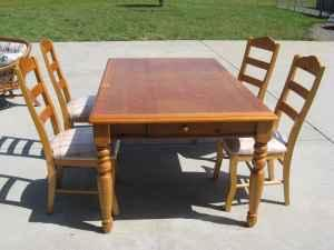 Ashley Furniture Pine Extension Dining Table 4 chairs