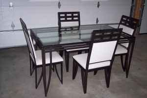 Ashley Glass Top Kitchen Table and Chairs N Appleton
