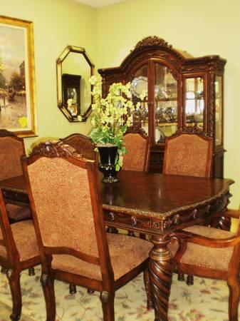 Ashley Millennium Dining Table 6 Chairs And China