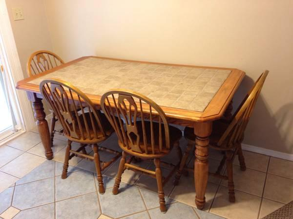 Ashley solid wood and tile kitchen table w 4 chairs for