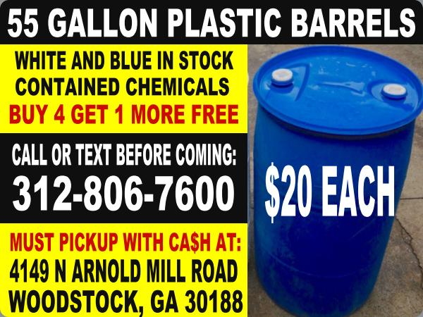 ATLANTA GEORGIA plastic 55 gallon poly hdpe rain water