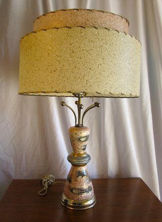 Atomic Pink Amp Gold Lamp With Tiered Shade For Sale In