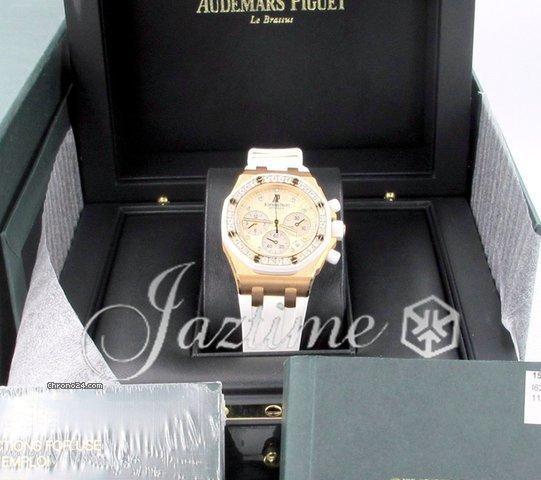Audemars Piguet Royal Oak Diamond Ladies 18k Rose Gold White Rubber 37mm Chronograph 26048OK.ZZ.D010
